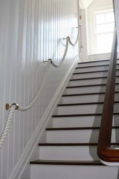 10 gorgeous coastal style staircases for inspiration - including my own - plus rope handrails, floating treads, seagrass runners, and clean, modern lines. Coastal Living Rooms, Coastal Cottage, Coastal Style, Coastal Decor, Seaside Bedroom, Modern Coastal, Craftsman Staircase, Open Staircase, Staircase Design