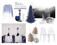 """""""Blue + Silver"""" by regnlee ❤ liked on Polyvore featuring interior, interiors, interior design, home, home decor, interior decorating, Chicnova Fashion, Kevin O'Brien, LSA International and Toast"""