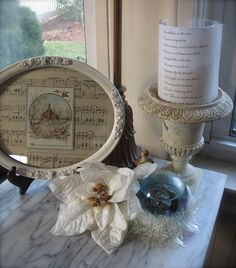 Great use of sheet music in old frame