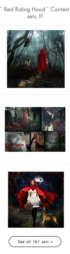 """"""""""" Red Riding Hood """" Contest sets...!!!"""" by catyravenwood ❤ liked on Polyvore featuring art, 390, Collage, artset, BOTSG03, fairy tale., Biba, Andrew Geller, Rachel Balfour Jewellery and beauty"""