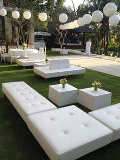 Comfy couches for wedding guests   Chill out area  Villa Wedding Bali