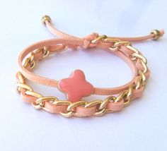 Coral Peach Pastel Double Wrap Summer Bracelet Gold