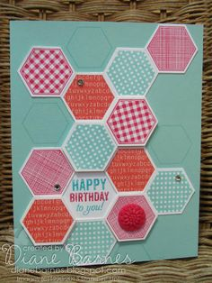 Stampin Up Six Sided Sampler hexagon & Label Love birthday card by Di Barnes #stampinup #colourmehappy