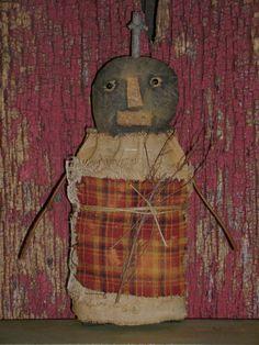 "Primitive Grungy Halloween 8"" Pumpkin Stump Doll ~ Ro's Cluttered Attic #Primitive #RosClutteredAttic"