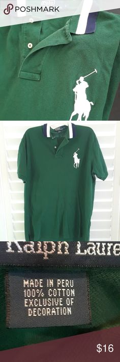 Polo by Ralph Lauren BIG horse Polo Shirt sz L Lg Excellent condition cotton pique polo shirt in hunter green featuring large polo horse on front. Polo by Ralph Lauren Shirts Polos