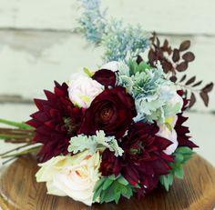 Plum Burgundy Succulent Wedding Bouquet with Dahlias Ranunculus and Peony - Silk…