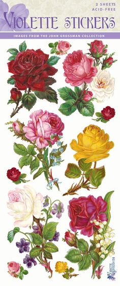 Beautiful Multicolor Rose Stickers for Crafting-2 sheets