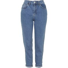 TOPSHOP PETITE MOTO Vintage Mom Jeans ($63) ❤ liked on Polyvore featuring jeans, pants, bottoms, trousers, mid stone, petite, blue skinny jeans, high-waisted skinny jeans, petite blue jeans and blue high waisted jeans
