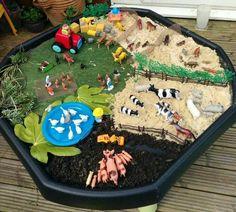 Small world farm - imaginative play. Tuff Spot, Farm Activities, Toddler Activities, Diy For Kids, Crafts For Kids, World Farm, Barn Wood Crafts, Small World Play, Messy Play