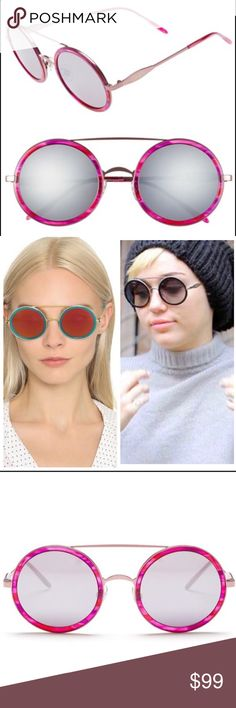 Wildfox Winona Deluxe Round sunglasses pink Wildfox- Gender: Women's - Name: Fireworks - Style: Round double bridge fashion - Size: 50-17-135mm (eye-bridge-temple) - Frame: Metal with acetate - Color: Wet Paint - Lens type: CR39 - Lens color:gray flash mirror (Wet Paint) - Protection: 100% UVA/UVB - Nose pads - Hinge: 3 Barrel French Comotec - Case included with Box & cleaning cloth - Imported Wildfox Accessories Sunglasses