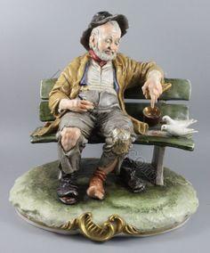 Capodimonte Bruno Merli figurine Old Man Feeding Birds