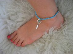 Anklet Delicate Teal Turquoise Dream Catcher Charm Dreamcatcher Braided Cord Anklet. $17.00, via Etsy.
