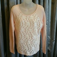 HP11/1 New! Cozy top Light peach casual top, sheer white and peach lacey front. Sweatershirt-like material. Pair with you favorite jeans and boots!  New Size Medium The front lace is see thru YA Los Angeles Tops Sweatshirts & Hoodies