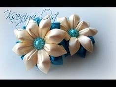 kanzashi flower tutorial,hair accessories,How to make kanzashi DIY Diy Ribbon Flowers, Ribbon Flower Tutorial, Cloth Flowers, Kanzashi Flowers, Ribbon Art, Fabric Ribbon, Ribbon Crafts, Flower Crafts, Fabric Flowers