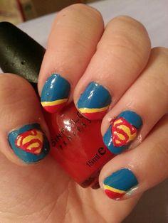 Superman/supergirl nails!