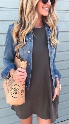 Casual Style Perfection Denim Jacket Plus Bag Plus Dress