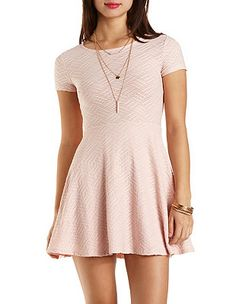 Short Sleeve Textured Skater Dress: Charlotte Russe