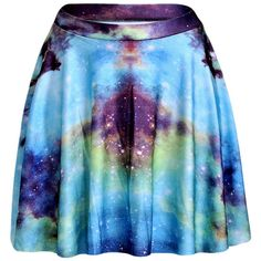 Blue Womens Slimming Galaxy Printed Pleated Skirt ($14) ❤ liked on Polyvore featuring blue