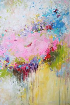 ORIGINAL Art Abstract Painting Flowers Blue White Pink Floral ...