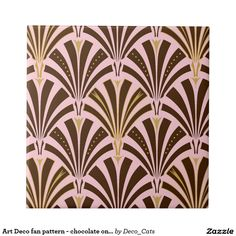 Art Deco fan pattern - chocolate on pink Small Square Tile