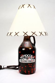 LED Lighted Minocqua Growler Lamp 4 Option Wine Liquor Beer Bottle Lamp. $50.00, via Etsy.