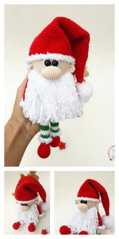 Crochet Christmas Decorations, Crochet Ornaments, Christmas Crochet Patterns, Holiday Crochet, Crochet Crafts, Crochet Projects, Crochet Santa, Crochet Teddy, Crochet Dolls