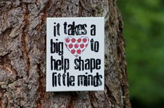 """Perfect little end of year gift for teacher -  """"It takes a big heart...""""  Teacher quote end of the year gift by Houseof3"""