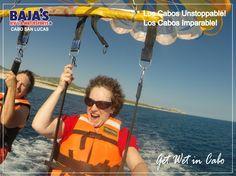 Disfruta el Parasailing! Enjoy Flying in Parasailing over Cabo Bay!  #CaboStrong #LosCabos #Bajaswatersport