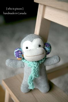 OOAK Tiny Sock Monkey No 27 with crocheted scarf by whoispisces