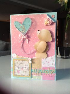 """Forever Friends shaker card using button packaging for the """"balloon"""". Baby Cards, Kids Cards, Forever Friends Cards, Kids Birthday Cards, Birthday Ideas, Fizzy Moon, Soft Pastel Art, Tatty Teddy, Shaker Cards"""