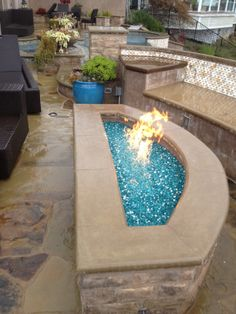 H-burner outdoor #firepit and Azuria Reflective #fireglass by #atlaspools