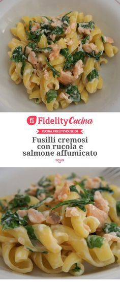 salmon recipes Fusilli cremosi con rucola e salmone affumicato Healthy Salmon Cakes, Healthy Salmon Recipes, Seafood Recipes, Wine Recipes, Cooking Recipes, Salmon Recipe Pan, Seared Salmon Recipes, Salmon Patties Recipe, Clean Eating Salmon