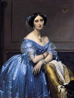 Jean Auguste Dominique Ingres.  1851-53.  His last portrait of a female sitter, Joséphine-Eléonore-Marie-Pauline de Galard de Brassace de Béarn, the Princesse de Broglie.