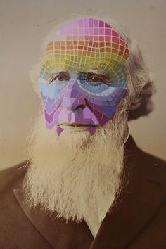 """Grandfather, 2011, acrylic gouache on found photograph 16 3/4""""x13 1/2"""" - April Deacon"""