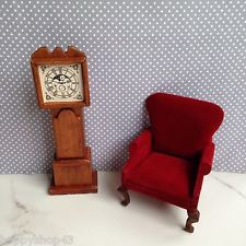Vintage Dollhouse Miniature Shackman Handmade Hardwood Grandfather Clock NOS
