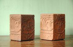 Mid Century Modern Figural Ceramic Bookends