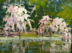 vivian hershfield japanese weeping cherry trees plein air painting of japanese weeping cherry trees in the brooklyn botanical gardens x