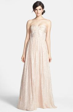 'Coralie' Foiled Silk Chiffon Gown by Erin Fetherston Nude
