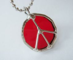 Cherry red peace sign stained glass pendant with wire design by BelloGlass for $12.00