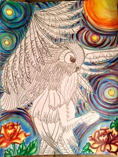 En progreso.../In progress... #dibujo #draw #lápiz #pencil #acrílico #acrylic #pintura #painting #arte #art #buho #owl #luna #moon #rosas #nocheestrellada #starrynight