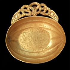 (Tang dynasty) A Gold Earcup Tang dynasty. ca 7th century CE. China.