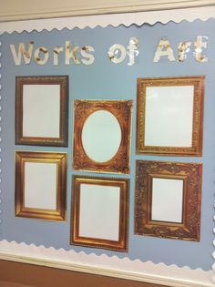 Vintage look in your classroom. Use picture frames to show off work!