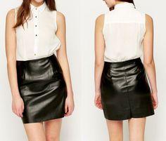 Neu Sexy Lederkleid Kunstleder Minikleid Kleid Blusenkleid 2in1 Business 38 40 . Buy it now www.fashion-darling.de