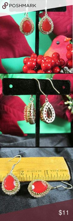 Red Aventurine & Crystal Earrings Deep Red teardrop surrounded  by tiny clear crystals. Silver & gold tone accent. NWOT. Gift boxed. Jewelry Earrings