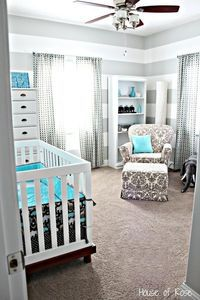 grey, white and teal elephant nursery by jennie @ Juxtapost.com