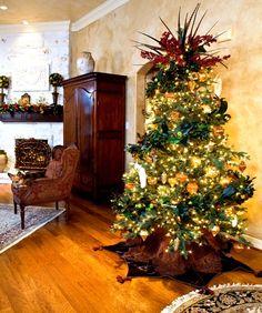 Mumme Interiors - Interior Designer - San Antonio - Mediterranean - Tuscan - Living Room - Christmas Tree - Holidays - Cozy - Wood Floor - Wood Furniture - Traditional - Upholstered Chair - Display - Shelves - Cream - Neutrals - Rug