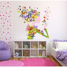 Full color Girl butterfly flowers sticker, Girl Decal, wall art decal Sticker Decal size 22x26