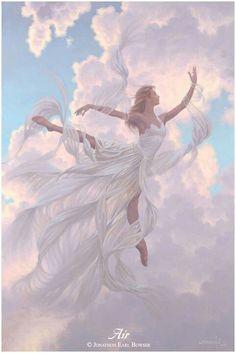 The Air Goddess - Art of Jonathon Earl Bowser Fantasy Kunst, Fantasy Art, Angeles, Divine Feminine, Gods And Goddesses, Mythical Creatures, Faeries, Oeuvre D'art, Urban Art
