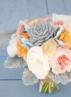 Peach And Grey Wedding Bouquet. Love the roses and succulents together