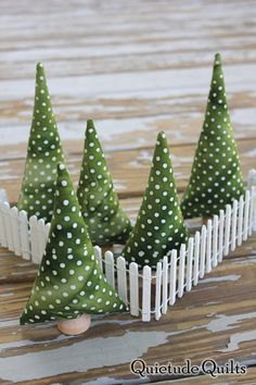 Polka Dot Tiny Forest with Fence  plush toy by QuietudeQuilts, $25.00